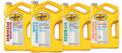 The new Pennzoil synthetic motor oils are full synthetic and made from natural gas.
