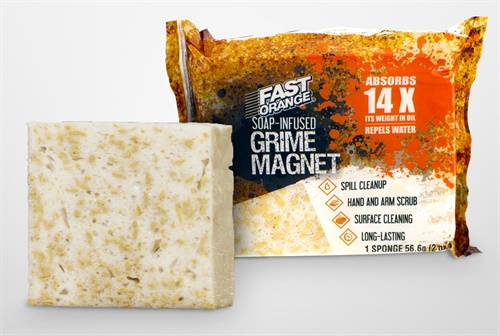 The new Permatex Fast Orange Grime Magnet absorbs 14 times its weight in petroleum products and cleans oil from a variety of surfaces, including hands and arms, according to the company.