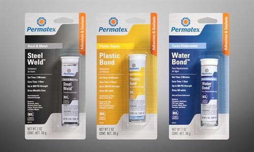 Permatex has introducedthree epoxy sticks designed for bonding metal, plastic or wet surfaces.