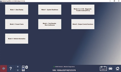 This is the opening screen of the Mahle OBD-II diagnostic panel showing the 10 different modes that can be accessed.