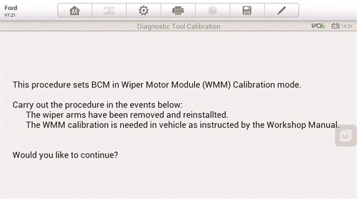 This screen capture from a 2013 Ford Escape shows the instructions to set the WMM up in the BCM after the wiper arms have been removed. Once the mode is entered, the wiper arms must be positioned according to the service information. The data is then stored in the BCM.
