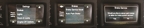 This group of screen shots shows the procedure to enter service mode for rear brake repair on a 2017 Jeep Renegade. It can all be done on the Uconnect dash touch screen without a scan tool.