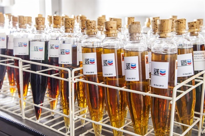 Quite a variety! Here are oil samples at a Chevron testing facility. Photo courtesy of Chevron Corp.
