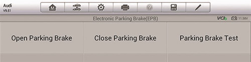 Here is a screen capture of the scan tool electri parking brake's park service options.