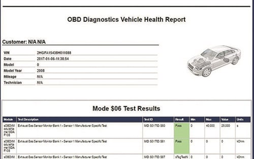 Mahle provides an OBD diagnostic report that provides not only all the Mode $06 data, but codes as well. This is very helpful in explaining to customers that other systems may be close to failing or shut off by certain codes that already exist.