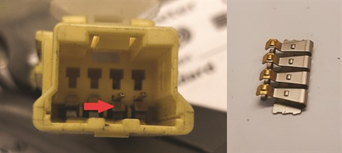 On this Honda seat belt, the common failure is in the 3-wire connector that contains the seat belt switch. It's worth noting the wire colors are different on the seat belt side, the test instructions are for the wire colors on the harness side.