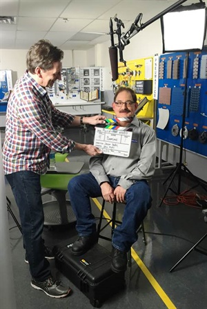 Dominic Basile, first shift operations manager at the Purolator manufacturing facility in Fayetteville, N.C., prepares for his video interview