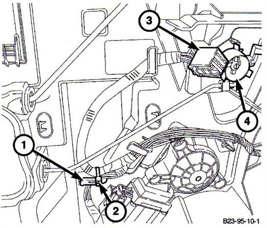 1) Wire routing tab. 2) Zip tie. 3) Door lock connector. 4) Bell crank.