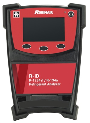 Robinair R-ID Refrigerant Analyzer works on vehicles equipped with R-134a or R1234yf refrigerant. (Courtesy of Robinair)