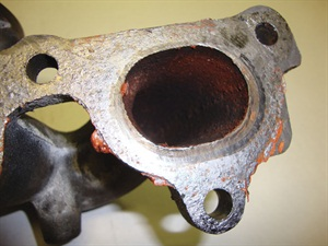 Evidence of RTV on an exhaust manifold.