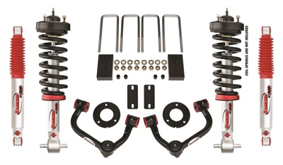 The new 3-inch Rancho suspension system is designed to provide an aggressive, leveled stance to the latest F-150 truck.