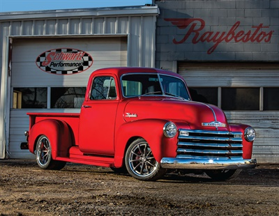 The fully restored 1953 Chevrolet pickup truck features an off-the-shelf performance disc brake upgrade package using Raybestos components and Raybestos Truck & Medium Duty specialty disc brake pads.