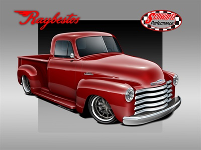 This is how the 1953 Chevy pickup truck will look after restoration.