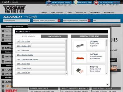 Dorman's new Web features are designed to add customization and flexibility to Dorman's Web properties.