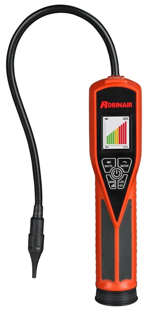 The new Robinair LD9-TG dual mode tracer gas leak detector features sensor technology designed to detect a 5% hydrogen/95% nitrogen tracer gas mixture.