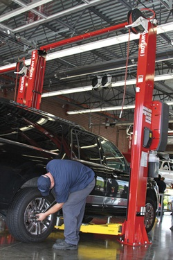 Lifting pads and extensions that allow for safe, snug contact with the vehicle axle surface so as to prevent slippage and a must for body-on-frame vehicles.