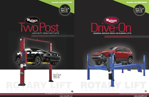 Rotary Lift's new two-post and drive-on lift brochures each cover light- and heavy-duty lift options and include helpful guides to assist customers.