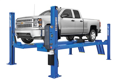 Drive-on lifts come in a variety of sizes and configurations. Rotary Lift explains how to choose the best lift for your shop in a free buyer's guide. The company's open front alignment Shockwave-equipped AR Series lift is pictured.
