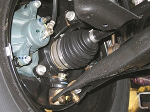 Worn or dried-out CV joints will result in a clicking noise during slow turns.