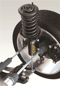 A front strut assembly is responsible for supporting vehicle weight, damping suspension travel and steering axis rotation via the upper bearing. Any condition issues diagnosed including spring, damper or upper bearing problems is cause for either rebuilding and replacing individual components or replacing with a time- and labor-saving compete ready-to-install assembly. Photo courtesy of Monroe.