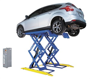 In addition to in-ground or post lifts, space-saving scissor lifts offer an economical choice for quick service jobs and smaller service bays. Shown here is Rotary's new RLP77 double-section scissor lift, which features a low-profile drive-over design and a fully mechanical hydraulic system, providing more than 78 inches of ground clearance. Photo courtesy of Rotary Lift.