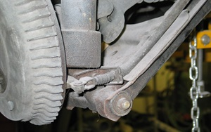 Inner and (where applicable) outer control arm bushings should be inspected for rubber deterioration, cracks, and excess movement.