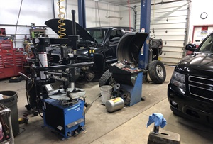 The shop's technicians routinely handle both gas and diesel vehicles for both private customers and two local fleets.