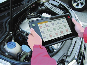 Wireless touch screen pads are becoming more popular. An example is the Launch Tech X-431 PAD II AE-301180411 shown here. Photo courtesy of Launch Tech USA.