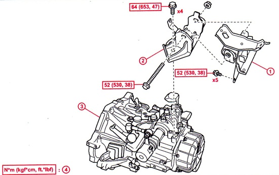 A replacement LH engine mount (see No. 1 in illustration) is available to address noise and vibration issues during acceleration and during gear shift changes.