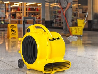 An air mover, such as this 1,800 cfm unit from ShopVac, efficiently moves air through the work area and doubles as an ideal floor dryer following floor wet-down and/or mopping. Photo courtesy of ShopVac