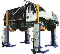 Mobile columns are available that are easy to move, store and position in the shop as needed, freeing-up floor space when not in use. Photo courtesy of Atlas Automotive Equipment