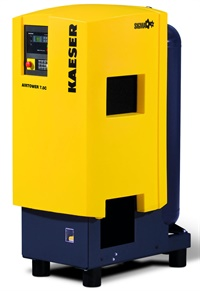 Depending on the shop's requirement for compressed air frequency of use and duty cycle, a rotary screw design can offer increased duty cycle and reduced operating heat as opposed to a piston style compressor. Shown here is Kaeser's Sigma Airtower 7.5 hp unit, featuring a rotary screw compressor, refrigerated. Photo courtesy of Kaeser Compressors