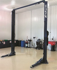 Twin-post lifts are available in a variety of load ratings and height configurations. Photo courtesy of Challenger Lifts