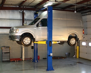 Due to an increase in popularity of unibody commercial vans such as the Ford Transit, Mercedes-Benz Sprinter, Nissan NV and Ram ProMaster, extended-height lifts are in greater demand to handle box height. Shown here is Rotary's SPO12 two-post lift with the optional 3-foot extension. A symmetric design keeps the vehicle's center of gravity between the columns for stability. Photo courtesy of Rotary Lift