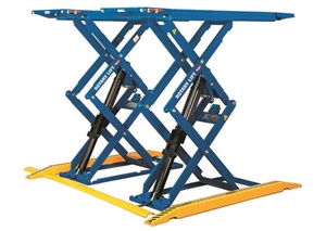 Versatile scissor lifts may be placed in a dedicated area of your shop or relocated as needs arise, providing no-post lifting capability ideally suited for brake and suspension work. Photo courtesy of Rotary Lift