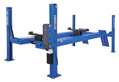 Four post lifts offer increased load capacity and versatility when optioned-out with moveable crossbeams and positioning jacks. Photo courtesy of Rotary Lift