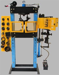 Every service shop needs a press for a variety of service tasks, with one of the most common uses involving bearing removal and installation. However, press designs have evolved to handle multiple tasks. An example is Pacific Automotive Industries' Workshop Pro 2000 that features air over hydraulic operation and a slew of accessories that includes a built-in strut spring compressor and safety doors, bearing splitters, adjustable bed and a foot pedal for convenient hands-free control. Photo courtesy of Pacific Automotive Industries