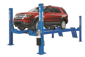 Four-post lifts provide added stability but require a larger shop floor footprint. Photo courtesy of Rotary Lift