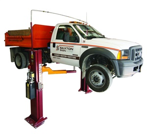 This Mohawk LC-12 twin-post lift for low-ceiling applications is capable of handling medium-duty vehicles up to 12,000 lbs. It features a twin-cylinder direct drive using no chains or cables. Photo courtesy of Mohawk Lifts