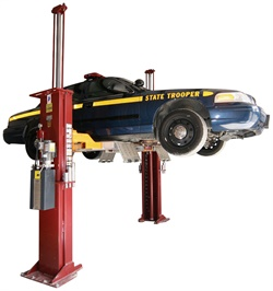 """A """"speed lane"""" option, like this one from Mohawk Lifts, that is easily added to a twin-post lift provides easy drive-on/drive-off capability. Photo courtesy of Mohawk Lifts"""