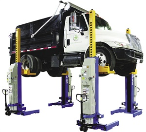 Mobile column lifts are available in a variety of sizes and lift capacities. Each of the four columns are portable, able to be rolled to position where needed. For example, the Atlas line of mobile units operate on deep cycle 12-volt batteries, kept charged by either single phase or three phase power, depending on the model. These are ideal for long wheelbase vehicles where space restricts the use of a dedicated lift. The columns are easily stored when not in use. Photo courtesy of Atlas/Greg Smith Equipment