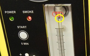 Flow meter: ball at top.