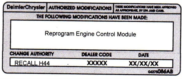 Type or print (with a ballpoint pen) the recall number, repair modification, dealer code and date on the Authorized Modifications Label. Attach the label near the VECI label and close the hood.