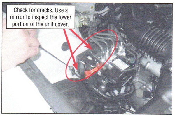 Check for cracks on the upper and lower areas of the cover.