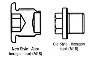 The new style manual transmission oil drain plug features a female hex drive, M18 thread and a new torque specification of 50 Nm. The previous drain plug features a male hex drive and M16 thread.