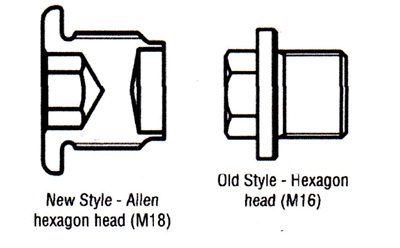 The new M18 style (left) and old style transmission drain plugs.