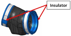 The revised turbo air duct features glued-in-place insulators to prevent separation.