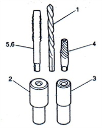 The Kent Moore bolt extraction kit includes 1) 5/32-inch reverse twist drill; 2) double-ended drill pilot insert; 3) drill pilot insert for larger diameter head or main cap bolts; 4) bolt extraction EZ out; and two bottoming taps for cleaning head bolt and main cap bolt female threads.