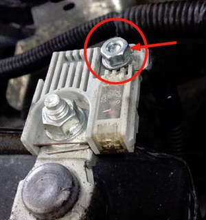 Check battery terminal cleanliness, and use a 10 mm wrench to check tightness of the terminal connection.