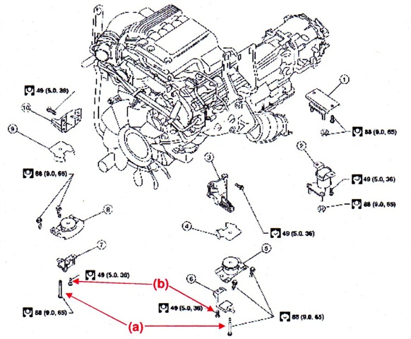 1. Rear engine mounting insulator 4WD; 2. Rear engine mounting insulator 2WD; 3. LH engine mounting bracket (upper); 4. LH heat shield plate; 5. LH engine mounting insulator; 6. LH engine mounting bracket (lower); 7. RH engine mounting bracket (lower); 8. RH engine mounting insulator; 9. RH heat shield plate; 10. RH engine mounting bracket (upper).